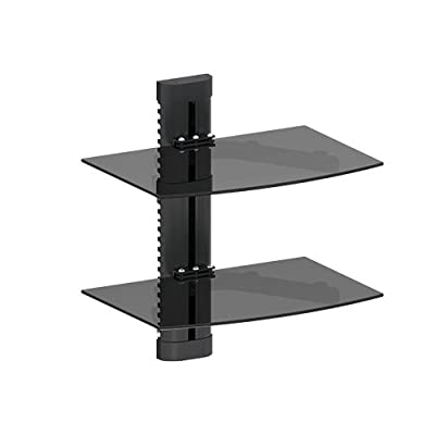 Mount World 1430 2 Shelf LCD, LED, Plasma TV Wall Mount Bracket for Blu-ray Player, Cable Box, DVD Player, Stereo Compon