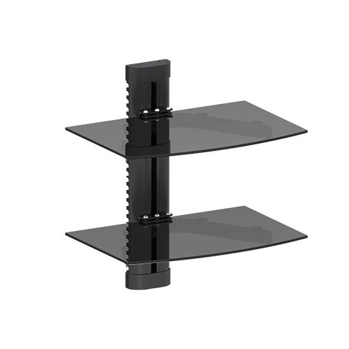 Mount World 1446 2 Tier Component Shelf Wall Mount for Cable Box, DVD Player, Stereo Components with Adjust Shelf (16