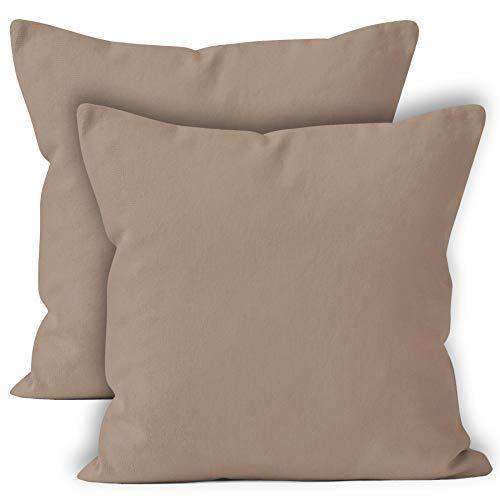 Encasa Homes Fundas de Cojines 2 Piezas (60x60 cm) - Beige - Lona de algodón teñida Forma sólida, Decorativa, Grande y Colorida, Lavable Funda ...