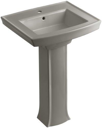 KOHLER K-2359-1-K4 Archer Pedestal Bathroom Sink with Single-Hole Faucet Drilling, Cashmere (Pedestal Lavatory Cashmere)