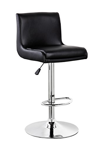 KERLAND PU Leather Cushioned Swivel Adjustable Seat Height Home Kitchen Bar Stool Counter Chair With Large Chrome Base, Black Cushioned Swivel Stool