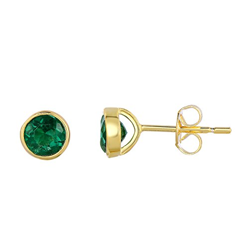 Emerald Bezel Ring (Sterling Silver Bezel Set Created Emerald Stud Earrings - 6 mm (14K Yellow Gold)