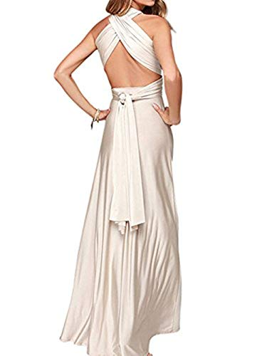 Clothink Women Cream Convertible Wrap Plus Size Maxi Dresses Cream Medium