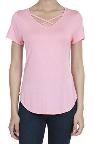 9003 Women's Casual Short Sleeve Solid Criss Cross V-Neck T-Shirt Tops Candy Pink XL