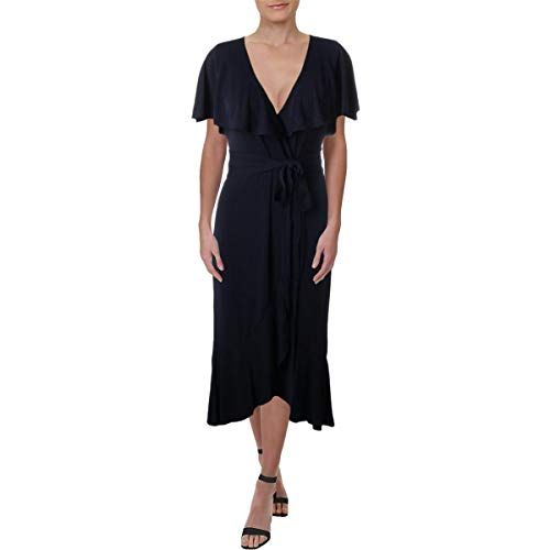 Juicy Couture Womens Knit Jersey Wrap Midi Dress