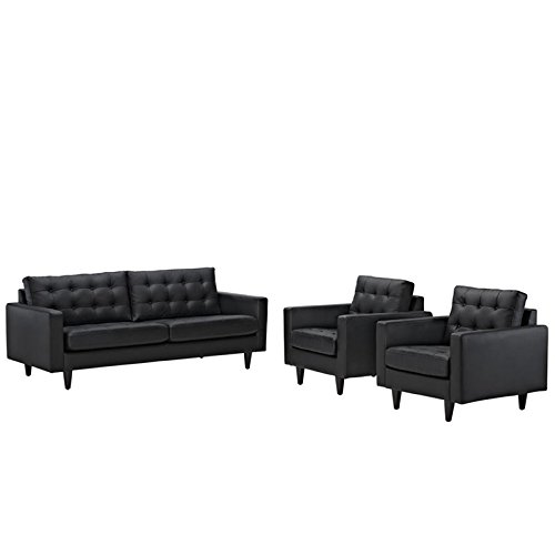 Modway EEI-1312-BLK Empress Mid-Century Modern Upholstered Leather Sofa and Two Armchair Set Black For Sale