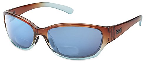Suncloud Duet Polarized Bi-Focal Reading Sunglasses in Cola Fade with Blue Mirror Lens +2.00