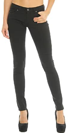 Hey Collection Women's Brushed Stretch Twill Skinny Jeans with Studs M Black