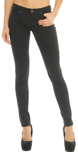Hey Collection Juniors Brushed Stretch Twill Skinny Jeans Large Black,Large,Black (Low Rise Mid Rise Jeans)