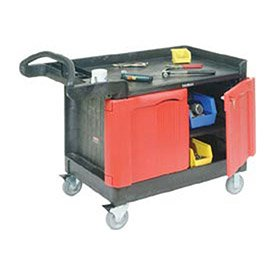 Rubbermaid Commercial TradeMaster 2-Door Cabinet Utility Cart, Large, FG453288BLA by Rubbermaid Commercial Products
