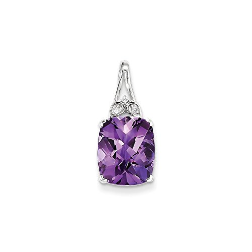 - 925 Sterling Silver with Amethyst and White Topaz Rectangular Pendant (22mm x 10mm)