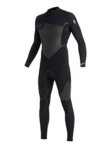 Quiksilver Mens Syncro Plus 4/3Mm Back Zip Full Wetsuit Back Zip Full Wetsuit Black - Wetsuit Lt