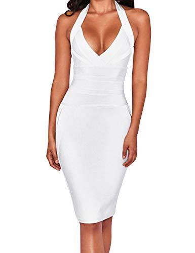 UONBOX Women's Sexy Halter V Neck Knee Length Party Rayon Bodycon Bandage Dress (White, L)