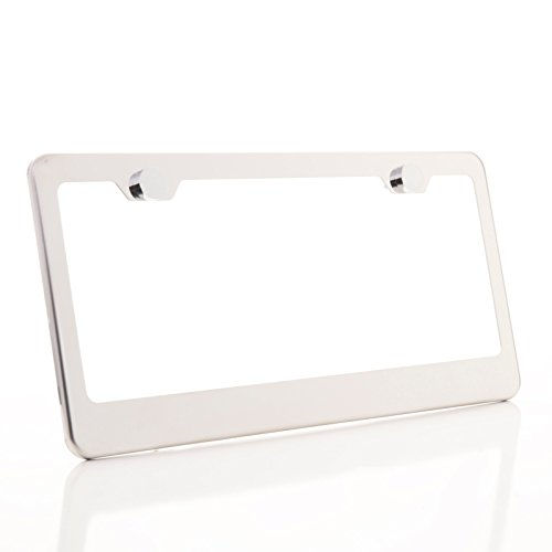 KA LEGEND One Polish Mirror Chrome T304 Stainless Steel License Plate Frame Holder Front Or Rear Bracket with Metal Screw ()