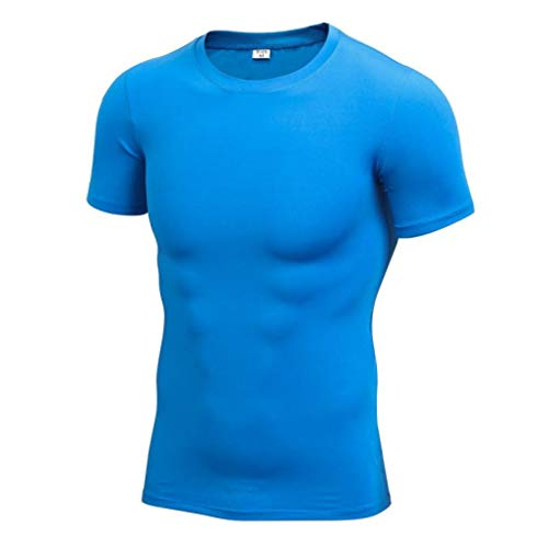 Man Summer Compression T-Shirts Elastic Quick Drying Running Short Sleeve Sports Tight Tops Blue