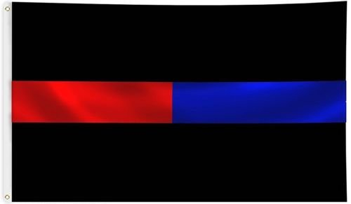 Moon Knives First Responders Flag 3x5 ft Thin Blue & Red Lin