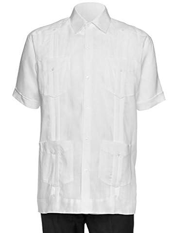 Giovanni Uomo Mens Short Sleeve 100% Linen Guayabera Shirt White Large - Uomo Mens Fashion