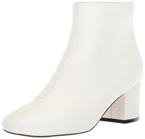 The Fix Women's Daniella Block-Heel Bootie Ankle Boot, Bright White Leather, 11 B US Botin Ladies Boots