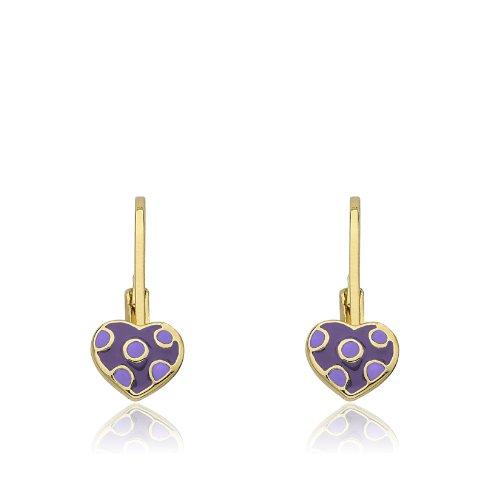 Little Miss Twin Stars Kids Earrings - 14k Gold Platedls Earrings Purple Enamel Heart With White Dots in Center Leverback Girls Earrings-Brass (Earrings Leverback Childrens Heart)