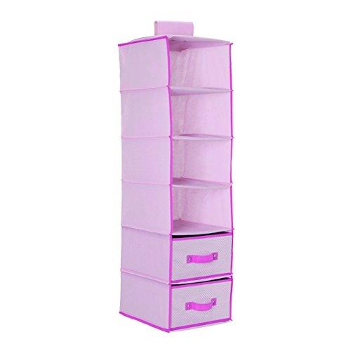 Delta Children 6 Shelf Storage with 2 Drawers, Hot Pink