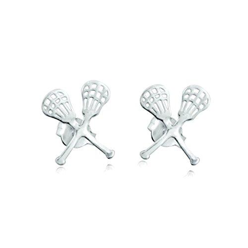 - Girls Lacrosse Jewelry | Crossed Lax Sticks Earrings | Sterling Silver