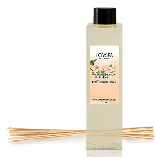 LOVSPA Nectarine Blossom & Honey Reed Diffuser Oil Refill with Replacement Reed Sticks | Nectarine & Peach Sorbet, Blackcurrant, Plum, Spring Blossoms & Manuka Honey, 4 oz | Made in The -