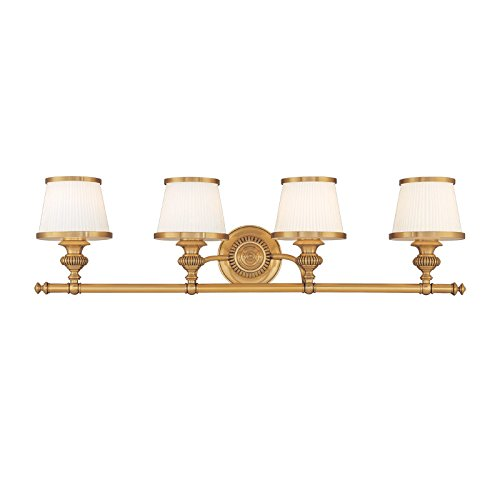 Bathroom Vanity 4 Light with Flemish Brass Finished A19 Bulbs 34 inch 400 Watts