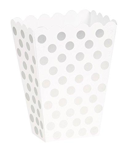 [Silver Polka Dot Popcorn Treat Boxes, 8ct] (Diy Popcorn Costume)
