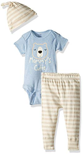 Gerber Baby Boys 3-Piece Organic Onesies Bodysuit, Pant and Cap Set, Bear hugs, 3-6 Months