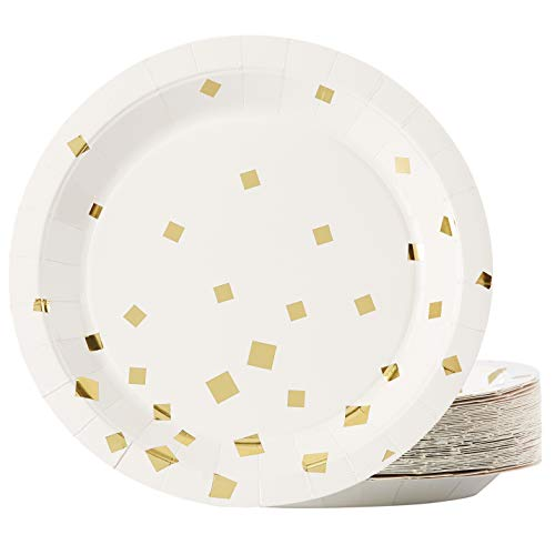Gold Paper Plates - 48-Pack Gold Foil Square Confetti 9-Inch Disposable Plates, Gold Party Supplies, Appetizer, Lunch, Dessert Round Party Plates ()