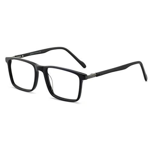 Men eyewear frame design temple Board Full frame RX-Able Eyeglasses 52mm (Bright black) For ()