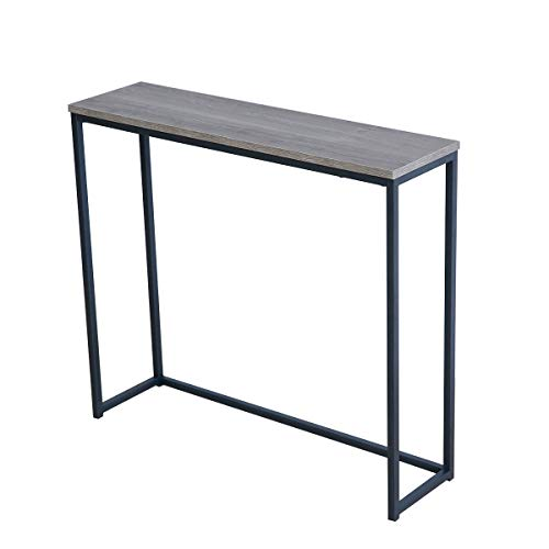 Roomfitters Sofa Console Table Top Metal Frame Accent Narrow Foyer Hall Table, Weathered Gray (Tall Narrow Table)