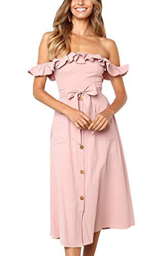 Angashion Women's Sleeveless Off Shoulder Ruffles Midi Long Dress Floral Print Tie Waist Maxi Dress with Pocket 092Pink S