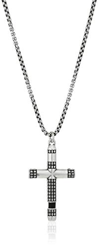 "Steve Madden Men's 26"" Black Faux Leather Design Cross Pendant Necklace with Squared Rolo Chain in Stainless Steel from Steve Madden"