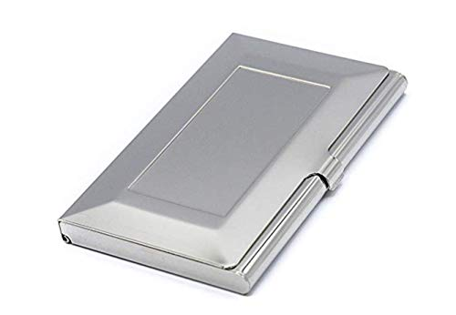 Business Card Carrying Case - Luxurious Chrome Silver Calling Card Holder For Professional Men & Women - Slim - Fits: 15~20 Cards | Impress Your Prospects & Clientele With Impeccable Class & Demeanor!