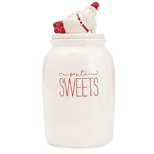 Mud Pie 4664002 Santa Sweets Christmas Ceramic Cookie Jar, (Sweets Cookie Jar)