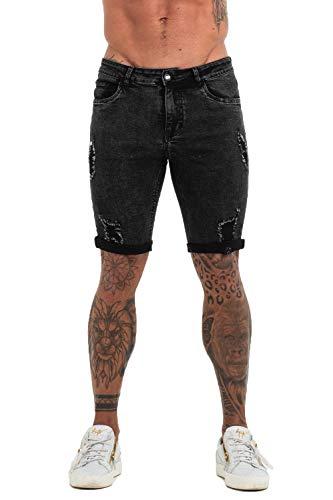 (GINGTTO Mens Denim Shorts Casual Distressed Short Jeans Men Black Ripped Short Jeans 28 )