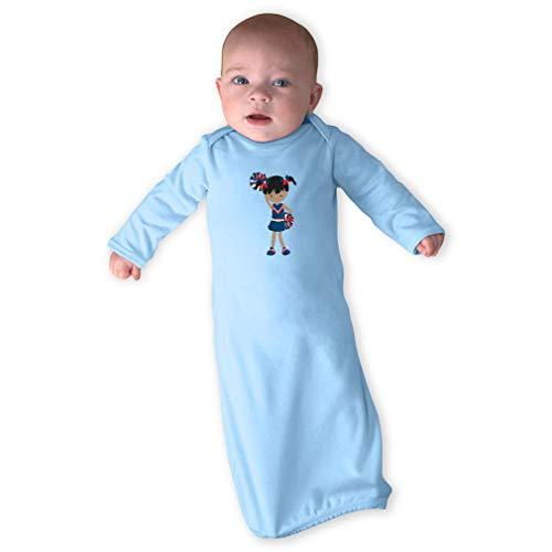 Cheerleader Hand Up Black B Long Sleeve Envelope Neck Boys-Girls Cotton Newborn Sleeping Gown One Piece - Light Blue, Gown Only