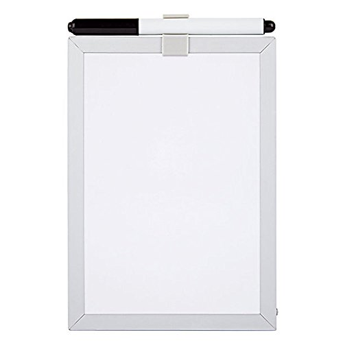 Foray Magnetic Dry-Erase Board and Marker, 5 x 7 Inches, Aluminum Frame, White by FORAY
