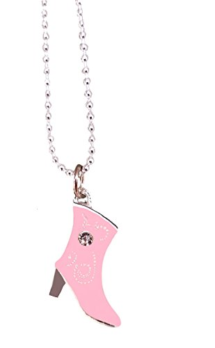 Cowboy Cowgirl Boot Pendant Rhinestone High Heel Enamel Charm Line Dancing Western Necklace by Pashal (Soft (Cheap Cowgirl Boots Under 20)