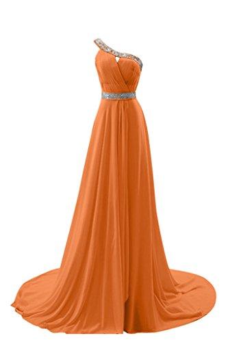 Orange Hell Chiffon A Festkleid Abendkleid Z Schulter Bride Elegant Schleppe Gorgeous Ein Lang Linie Ballkleid q6SYOfw