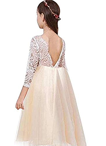 Miss Bei Lace Back Flower Girl Dress,Kids Cute Backless Dress Toddler Party Tulle Tutu Dresses for Baby Girls Dress ! (Long Sleeve Champagne, 5-6 Years/130cm)