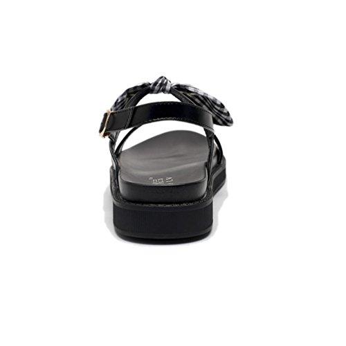 Casual Sandales Plateforme 43 Talon Femmes Loisir Cuir Mode Mode JRenok Noir 35 Antidérapantes en Chaussures 5XzAxwXq