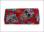 Pretty Sugar Skulls & Flower Cotton Tri Fold Clutch Wallet (Red)