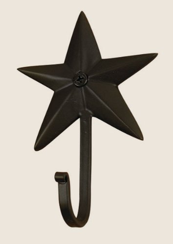 Star Coat Hook (Colonial Star Wall Hook in Black Wrought Iron, 4