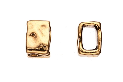 12pcs handwork rectangle antique gold-plated Licorice leather cord charm fits 10x6mm cord, 15x10.5mm ()