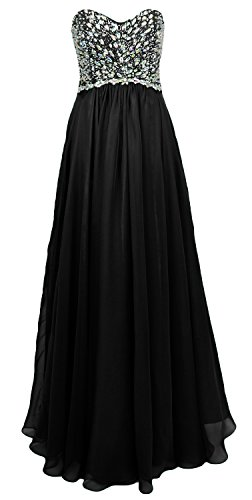 MACloth Women Strapless Crystal Chiffon Long Prom Party Dress Evening Ball Gown Negro