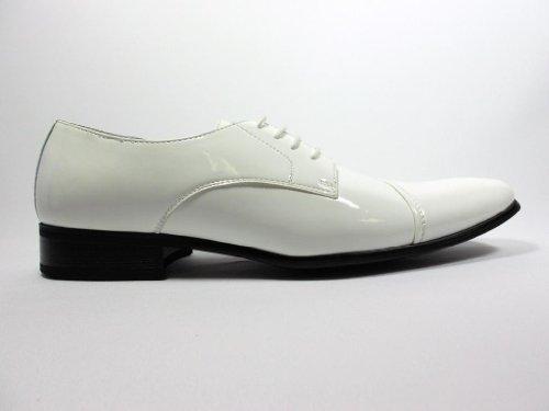Delli Aldo Men's 19107-White Patent Leather Cap Toe Oxfords, White, 9