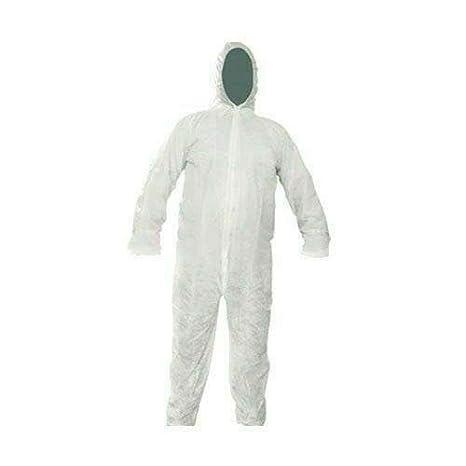 Bahob® Protección desechable general de papel caldera traje mono de protección traje con capucha elástica, puños y tobillos