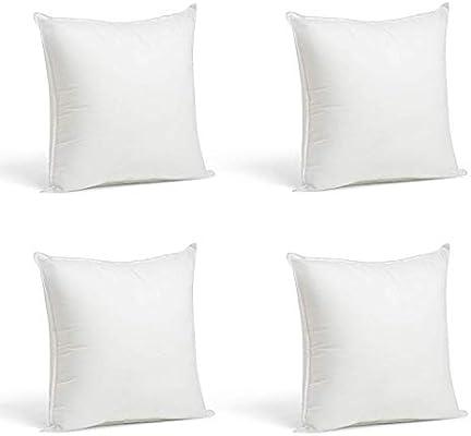 2 Rellenos cojines sofa hipoalergénicas + 2 fundas cojines lisos 45x45cm decoracion y para almohadas de cama